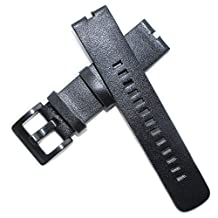 Fitian New Replacement Leather Watch Strap Band for Moto 360 Smart Watch Motorola Wristband with Free Screen Protector (Black Leather Strap)