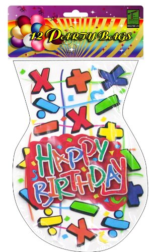 Chelford Cello Shape Happy Birthday Party Bag Math Symbols Pack Of