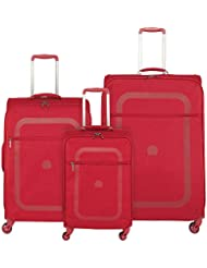 Delsey Luggage Dauphine 3 Piece Lightweight Spin Lug, Red