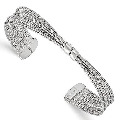 En argent sterling poli et texturé Bracelet jonc Flexible