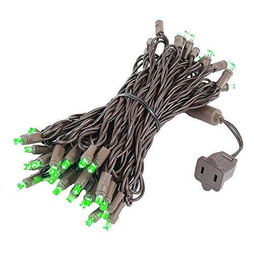 - Novelty Lights 50 LED Brown Wire 25-Feet Long Outdoor Party Christmas Mini Light Set, Green