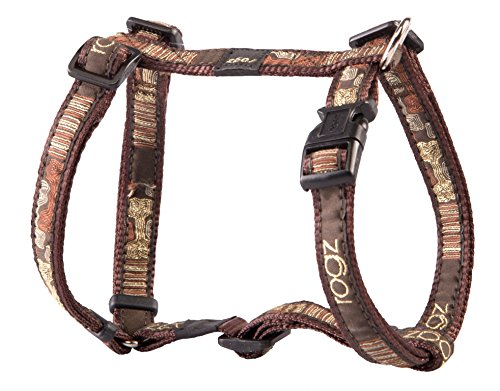 - Premium Pattern Ribbon Designer Adjustable Dog H Harness for Medium Dogs; matching collar and leash available, Mocha Bone Gold Sparkle Halloween Fall Design