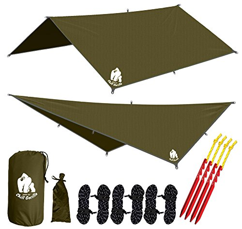 Eureka Tent Accessories - Chill Gorilla 10' hammock rain fly tent tarp waterproof camping shelter. Lightweight ripstop nylon & not cheap polyester. Stakes included. Survival gear. Backpacking camping ENO accessory. OD green