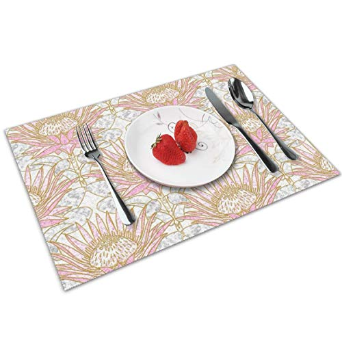 Luase Blush King Protea Art Deco (White) Table Placemats for Dining Table,Washable Placemat Heat-Resistant Set of 6(12X18 inch)