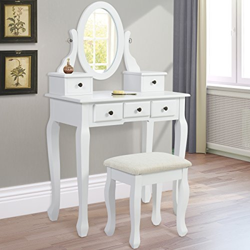Best Choice Products Vanity Armoire Makeup Table Set - (Makeup Table And Chair)