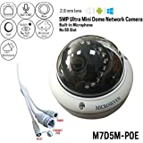 Microseven 5MP PoE Cloud Cam Works with Alexa, Free 24Hr Cloud & Live Streaming microseven.tv, H.265 Ultra HD 2592x1944 Audio Build-in Mic Outdoor Dome Vandal-Proof IP Camera, ONVIF(No Power Supply)