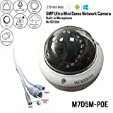 #10: Microseven 5MP PoE Cloud Cam Works with Alexa, Free 24Hr Cloud & Live Streaming microseven.tv, H.265 Ultra HD 2592x1944 Audio Build-in Mic Outdoor Dome Vandal-Proof IP Camera, ONVIF(No Power Supply)