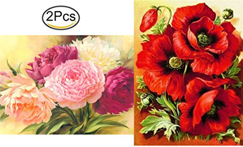 2 PackDIY 5D Diamond Painting by Number Kit, Full Drill Poppy & Peony Flowers Rhinestone Embroidery Cross Stitch Ornaments Arts Craft Canvas Wall Decor