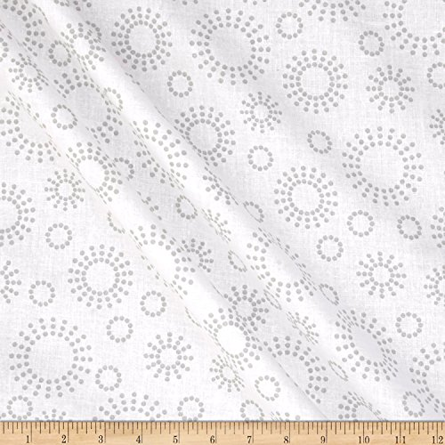 Santee Print Works 108'' Wide Back Get Back Circle Dots Grey/White Fabric, Linen, Fabric By The Yard