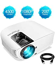 ELEPHAS 1080P LCD Video Projector Support HDMI VGA AV USB Micro SD Ideal with HDMI Cable for Home Theater Entertainment Party and Games, White