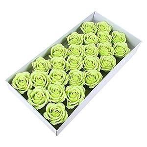 Memoirs- 25PCS 6CM Soap Rose Flower Head Wedding Party Decoration Artificial Flowers Big Rose Head, Light Green 32