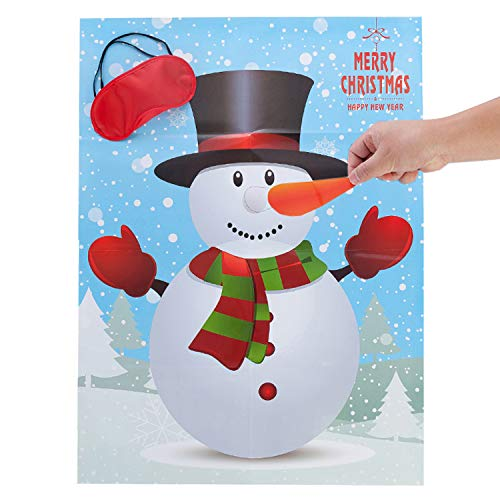 MISS FANTASY Christmas Party Games Activities Pin The Nose on The Snowman Xmas Gifts for Kids New Year Games for Families (Snowman) -