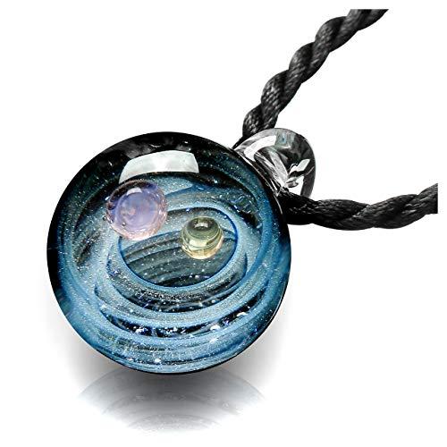 Jovivi Natural Lampwork Glass Pendant Necklace,Unique Special Universe Galaxy Space Cosmos Design, Series Nebula Ribbon Double Planet