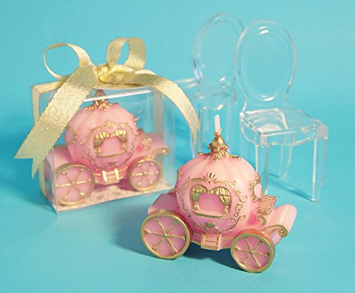 Creative Pumpkin Carriage Smokeless Candle birthday Candle for wedding & Baby Shower Favors (Pink) (Carriage Baby Candle)