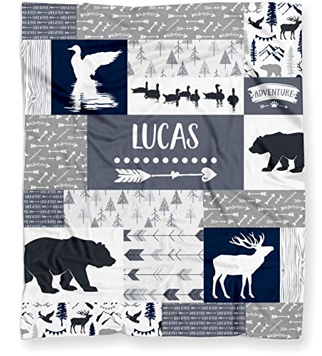 Duck Hunting Baby Blanket for Boys, Personalized Ducks, Deer and Bears Woodland Baby Shower Gift - (Lightweight Minky Fleece - 30