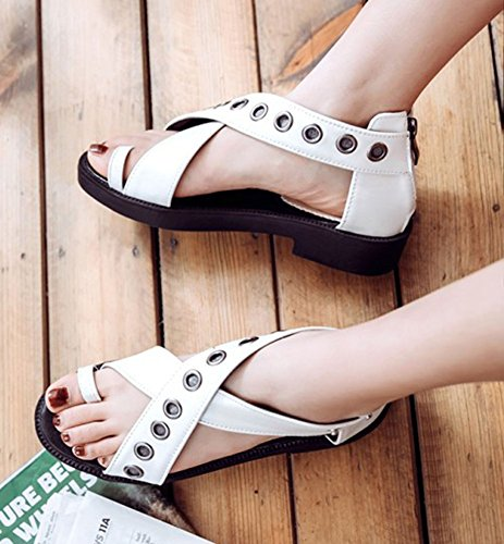 Easemax Womens Studded Platform Toe Ring Zip Up Ankle Wrap Low Chunky Heel Cutout Sandals White VxVjts
