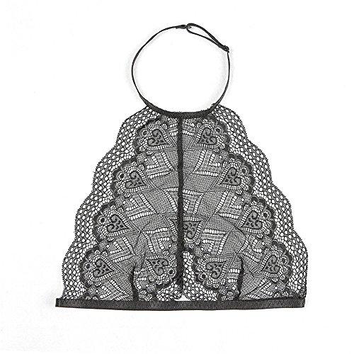 Longra ♥♥Mujeres Bralette Lace Impresión Condole Cinturón Bustier Crop Top Bra camisa chaleco negro