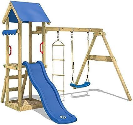 WICKEY Parque infantil de madera TinyCabin con columpio y tobogán azul, Torre de escalada da exterior con arenero y escalera para niños: Amazon.es: Bricolaje y herramientas