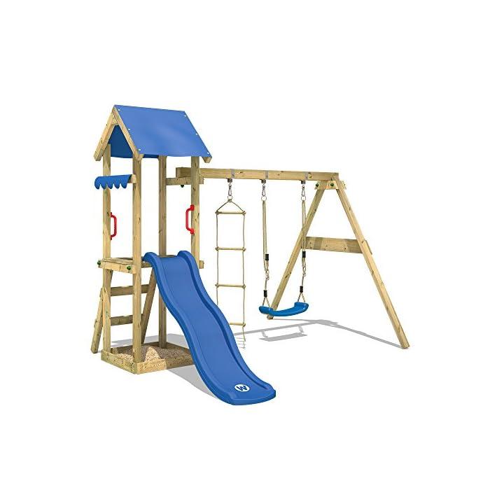 51tPQpOQCSL Parque infantil con tobogán, columpio, escalera inclinada y tola - Calidad y seguridad aprobada Madera maciza impregnada a presión - Poste 7x4,5cm - Poste de columpio 9x9cm Varias opciones de montaje - Instrucciones de montaje detalladas - Made in Germany