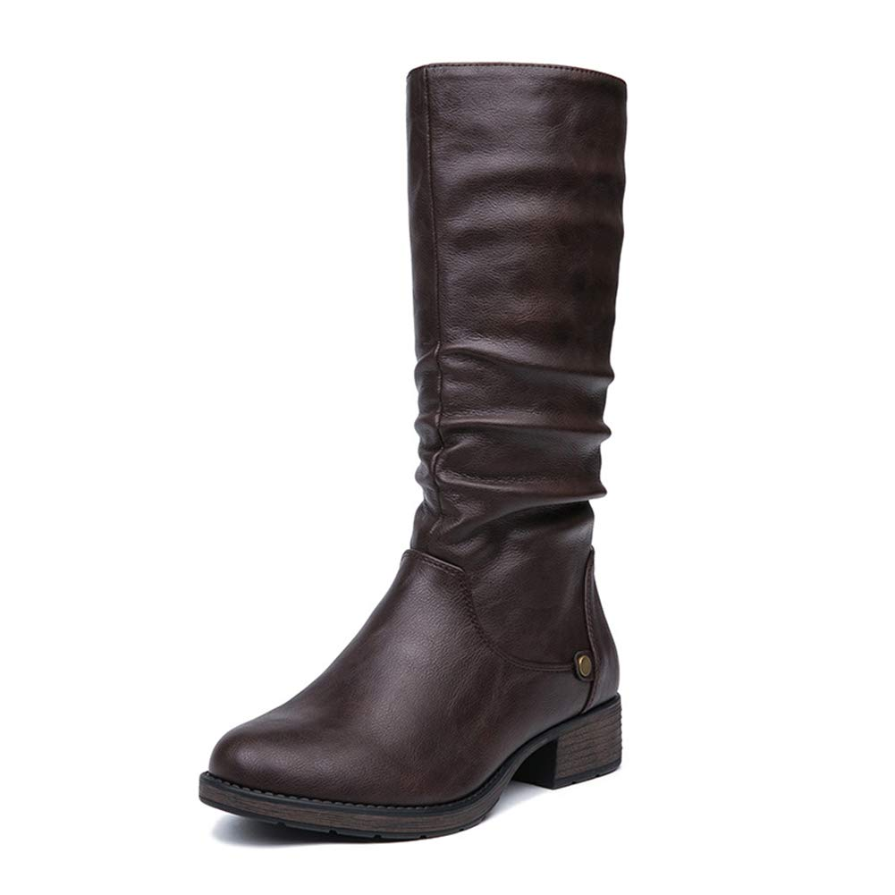Damen Stiefel Herbst Und Winter Lange Schlauch 32 cm Mode Starke Ferse Stiefel Damen Britische Wind Frauen Stiefel (Farbe   B Größe   36)