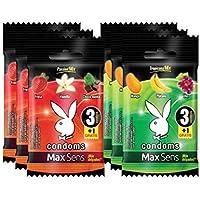 Playboy Condoms MaxSens 3 paquetes Passion mix y 3 paquetes Tropicana mix con 3 condones + 1 gratis c/u