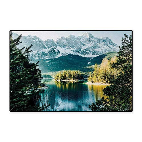 Landscape,Doormat,Mountain Lake in Northern Germany with Frozen Peaks Water in Winter Season Life,Bath Mat for Tub,Green White 16