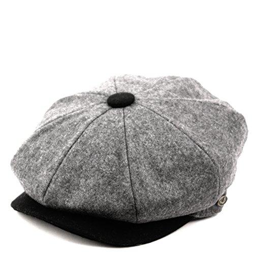 Men's Classic 8 Panel Wool Blend Newsboy Snap Brim Collection Hat (XL, NSB1595GRAY/BLK)