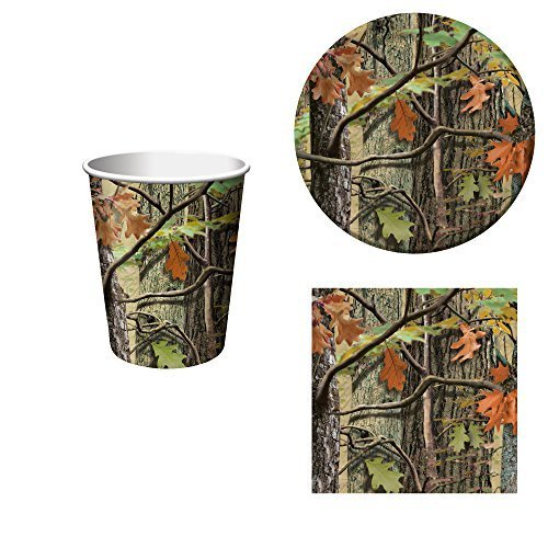 Hunting Camo Birthday Party Supplies Set: Plates, Napkins, and Cups Kit for 16