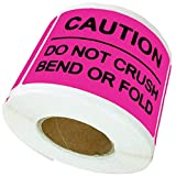 Remarkable Magenta 3X2 Inch DO NOT Crush Bend OR FOLD Caution Warning Label Stickers (250pcs Per Roll)