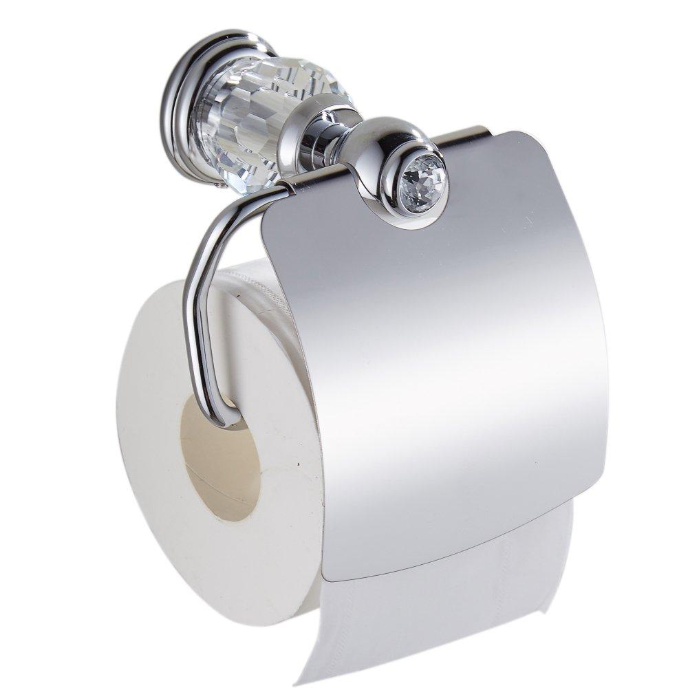 Yutu bsjz00アンティーク真鍮ポリッシュクローム/ゴールドトイレットペーパーホルダー壁マウントクリスタルティッシュホルダーバスルームアクセサリー 5.8