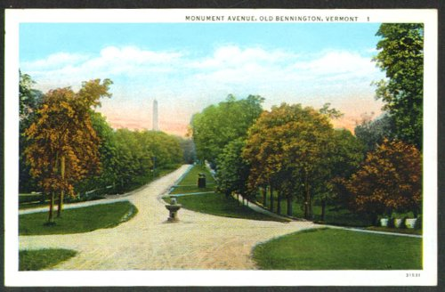 Monument Ave Old Bennington VT postcard 1910s