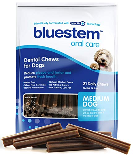 Dog Dental Chews: Rawhide Free Treat Teeth Cleaning Sticks for All Breed of Small & Medium to Large Dogs. Brushing Chew Stick Treats Plaque Tartar & Bad Breath. Healthy Pet Food Supplies Made in USA