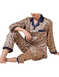 Domple Men's Silk Satin Sleepwear Loungewear Button Down Pajamas Set