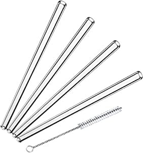Glass Dharma 5 Piece set of 4 Simple Elegance 9.5mm 8 Inch Glass Straws with Brush Set