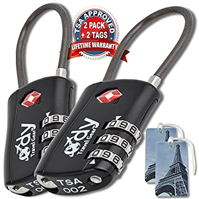 Ody Travel Gear Luggage Locks TSA Approved 2 Pack With Tags