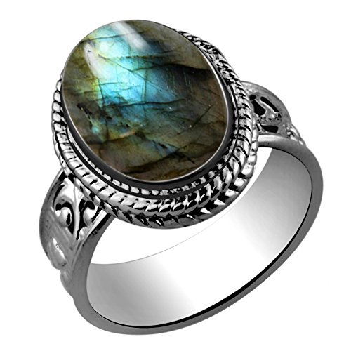 5.60ctw,Genuine Labradorite 10x14mm Oval & .925 Silver Plated Handmade Ring (Size-9)