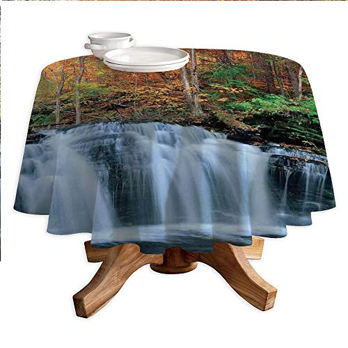 Waterfall Round Polyester Tablecloth,Waterfalls in Autumn Season Nature Park with Colorful Foliage Trees,Dining Room Kitchen Round Table Cover,55