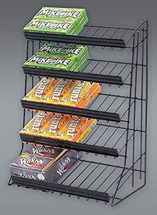 5 Tier Candy Rack Waterfall Merchandiser in Black - Tier Merchandiser
