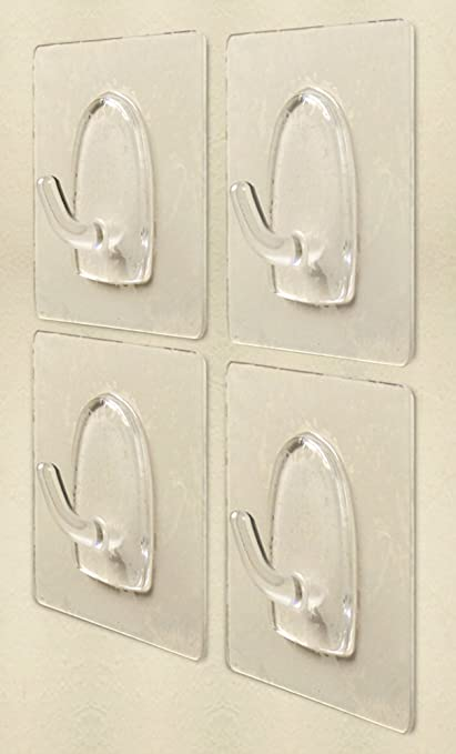 Wall Hooks Adhesive   Pack Of 4   Clear Bathroom Shower Hooks   Strong  Plastic Hangers