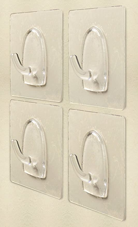 Wall Hooks Adhesive Pack Of 4 Clear Bathroom Shower Hooks