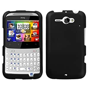 For AT&T HTC Status Accessory - Rubber Black Hard Protective Hard Case Cover