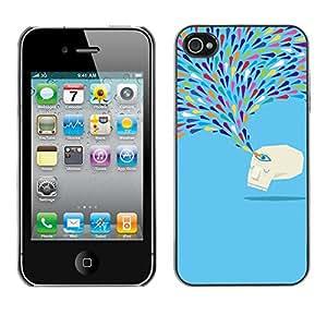 Cubierta de la caja de protección la piel dura para el Apple iPhone 4 / 4S - crying blue monster sad tears art modern