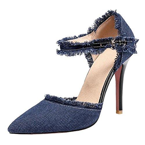 TAOFFEN Heels Women Sandals Dark Pointy Blue Fashion 4q4A6r
