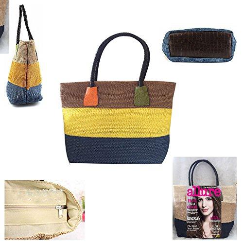 Straw Stripe Coffee Patten Women Shoulder Lady Donalworld Summer Bag Crocodile Handbag Colorful OHqF8xf