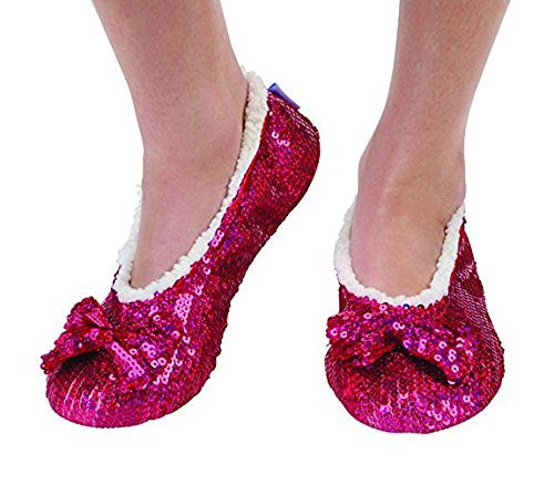Sequin Eagle - Snoozies Brilliance Bling Sequin Metallic Shine Slippers - New 2016 Colors (Medium (7/8), Dark Pink)