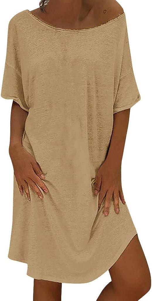 WYTong Womens Casual Loose Long Dress Short Sleeve Dresses Summer New Linen Dress dress for women