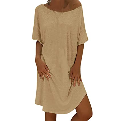 42b2f90137 iSkylie Women s O Neck Summer Dress Short Sleeve Fit Flowy Simple Swing Casual  Loose T-