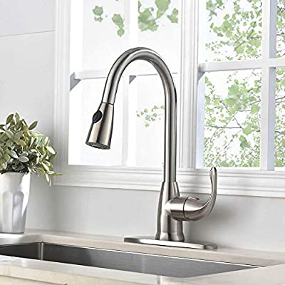 VESLA HOME Modern Commercial Lead-free Solid Brass Single Lever Pause Botton Pull Out Sprayer Brushed Nickel Kitchen Faucet, Kitchen Sink Faucet With Deck Plate