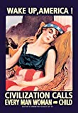 Buyenlarge Wake Up America Civilization Calls Every Man Woman and Child by James Montgomery Flagg Wall Decal, 48'' H x 32'' W