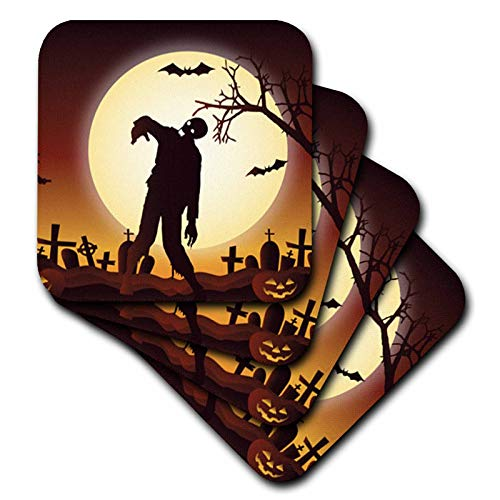 3dRose Sven Herkenrath Celebration - Happy Halloween with Zombie for Celebration Season - set of 4 Ceramic Tile Coasters (cst_294687_3) -